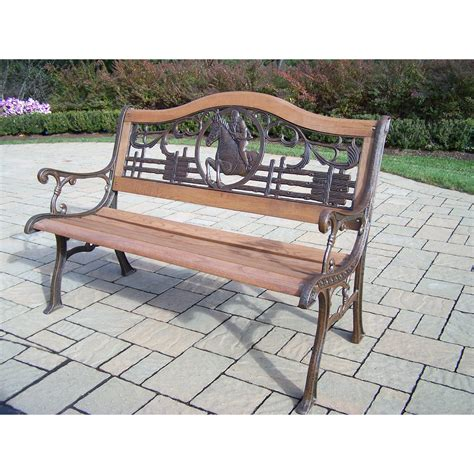 iron park benches oakland living horse wood and cast iron park bench