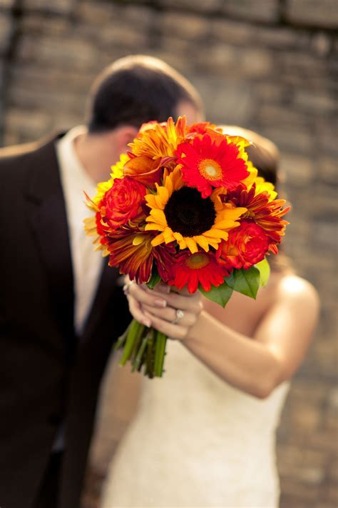 Fall Wedding Bouquets With Sunflowers   Fall Sunflower