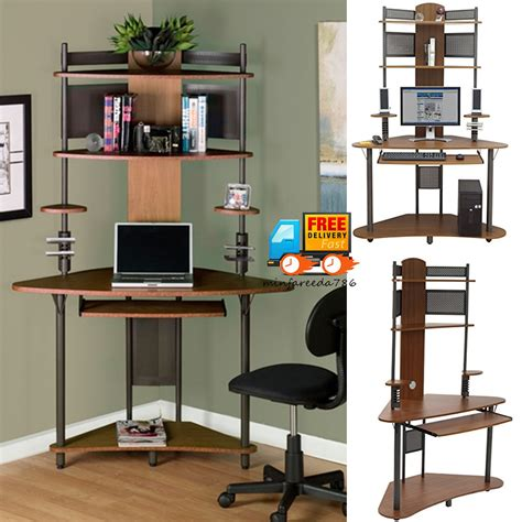 Small Corner Computer Pc Desk Wood Tower Hutch Storage Small Corner Computer Desk With Storage