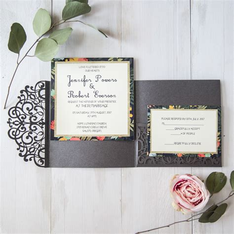 Wedding Pocket Invitations by Grey Floral Laser Cut Pocket Wedding