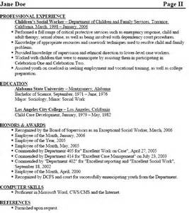Social Worker Resume Exles by Objectives Of Social Worker Resume
