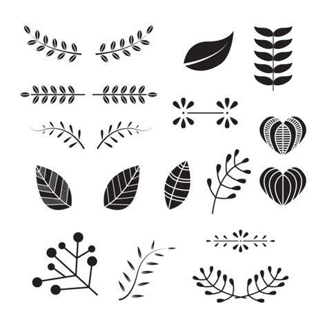 small decorative drawings decorative leaves collection vector free download