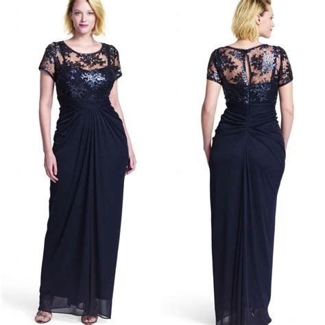 Lace Blouse Navy Pastel navy blue chiffon sheath plus size formal dresses 2015 new