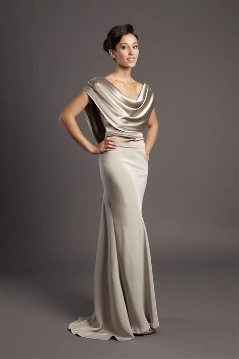 cowl drape cowl drape bias cut gown in chagne taupe crepe back