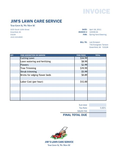 Free Lawn Care Invoice Template Free Business Template Landscaping Invoice Template