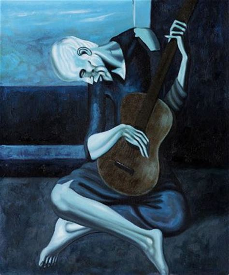 picasso paintings during the blue period the guitarist 1903 blue period painting by pablo