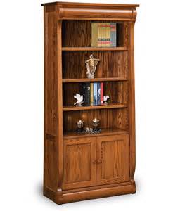 Cherry Wood Bookcases Old Classic Sleigh Bookcase With Doors Amish Direct