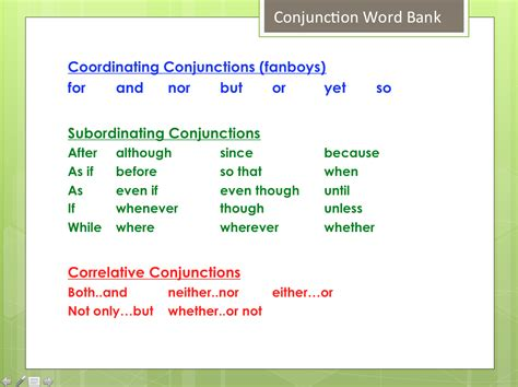 exle of conjunction written language improving sentence structure