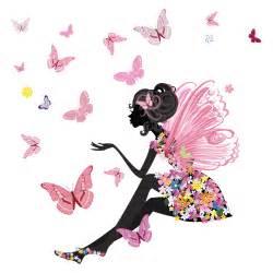 Flower Fairy Wall Stickers flower fairy wall sticker scene butterfly wall decal girls