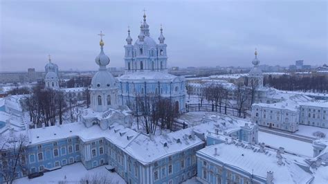 St Snow aerial view smolny convent of the resurrection in st