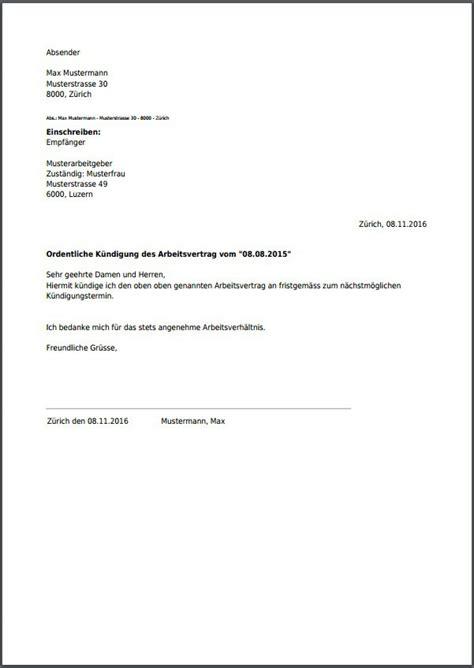 Muster K Ndigung Arbeitsvertrag Pdf arbeitgeber k 252 ndigung vorlage vorlagen komplett