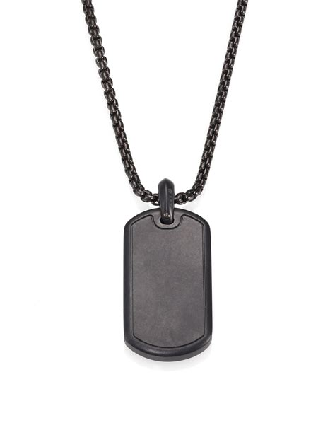 Black Onyx Titanium Pendant Necklace Pendant Choker s david yurman necklaces lyst
