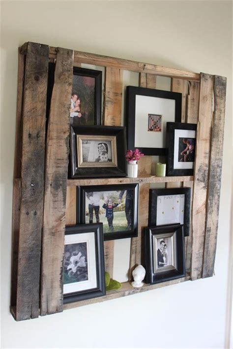 diy pallet wall shelves picture frame display rack 99