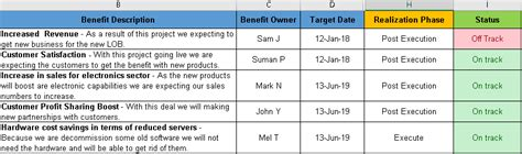 project benefits tracking template excel free