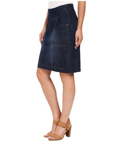 jag janelle pull on skirt comfort denim in blue