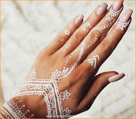 white henna tattoo on hand beautiful white henna tattoos for with style