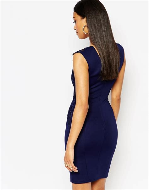 lipsy lace applique dress lipsy bodycon dress with lace applique shoulder navy in