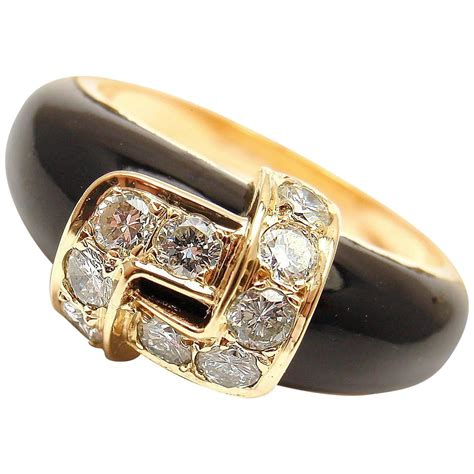 cleef and arpels black onyx gold band ring at