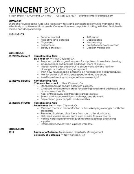 Sle Of Housekeeping Resume by Housekeeping Aide Resume Exle Hotel Hospitality Sle Resumes Livecareer
