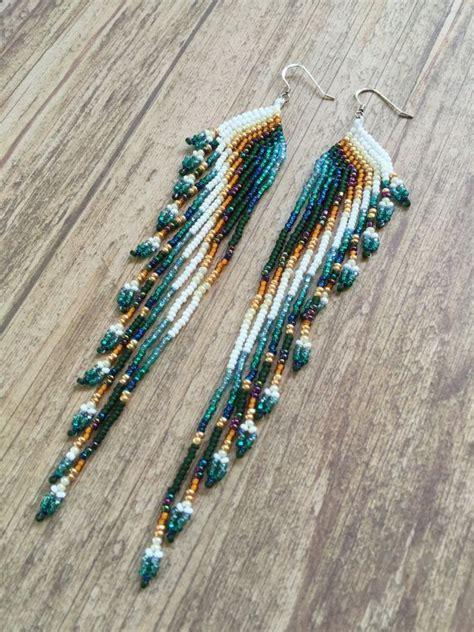 Beaded Fringe Earrings seed bead earrings fringe earrings by