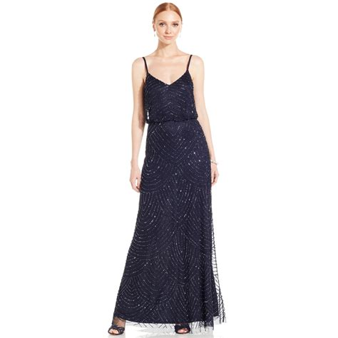 beaded gown papell spaghetti beaded blouson gown in
