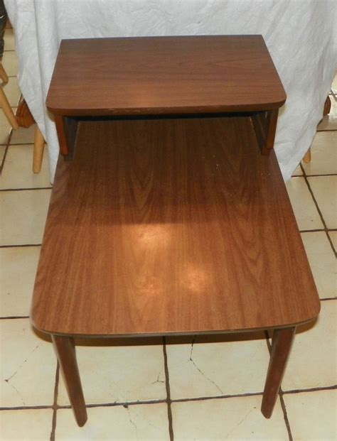 Mersman Side Table by Walnut Mid Century Formica Top Step End Table Side Table