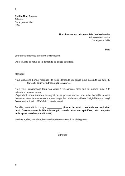 Modeles De Lettre De Bonne ã E Letter Of Application Modele De Lettre Reprise De Travail Apres Conge Parental