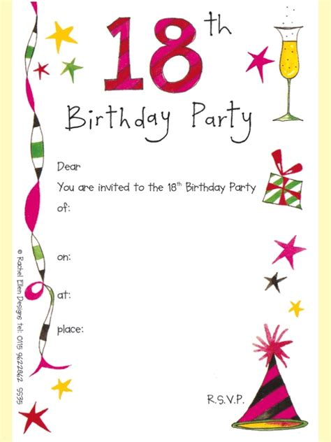 18th birthday card template 18th birthday invitations template best template collection