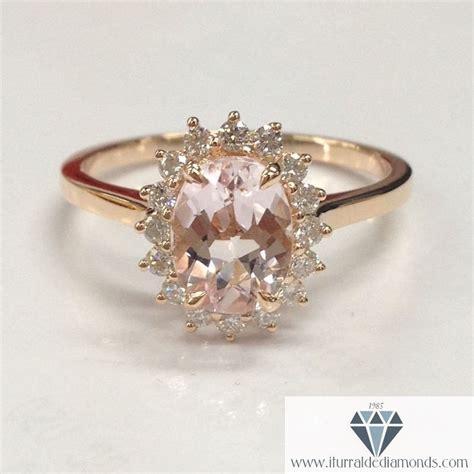 oval cut morganite halo plain band engagement ring
