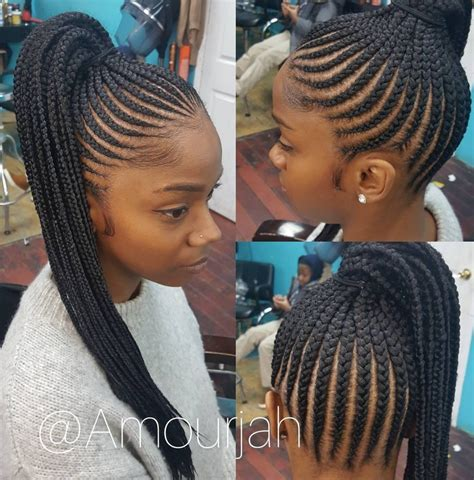 black brais with no weave hair flawless braided pony via amourjah https
