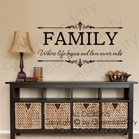 words that end with room family where begins never ends wall quote floral