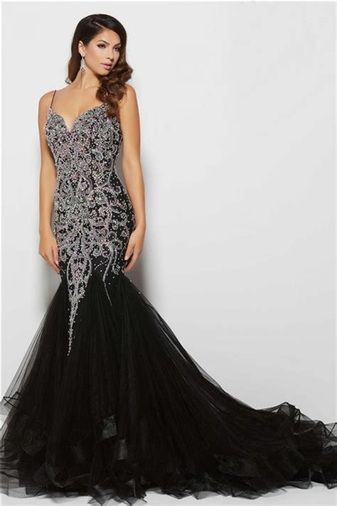 beaded mermaid prom dress gorgeous mermaid low back black tulle beaded evening prom