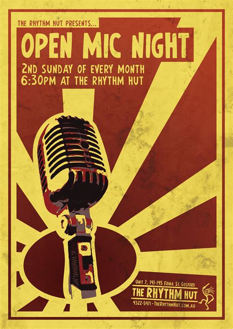 Central Coast Drumming Gt The Rhythm Hut Open Mic Poster Template