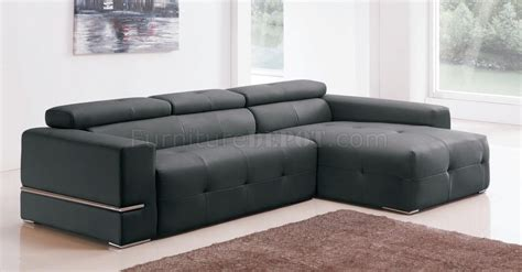 8065 sectional sofa in black bonded leather by american eagle