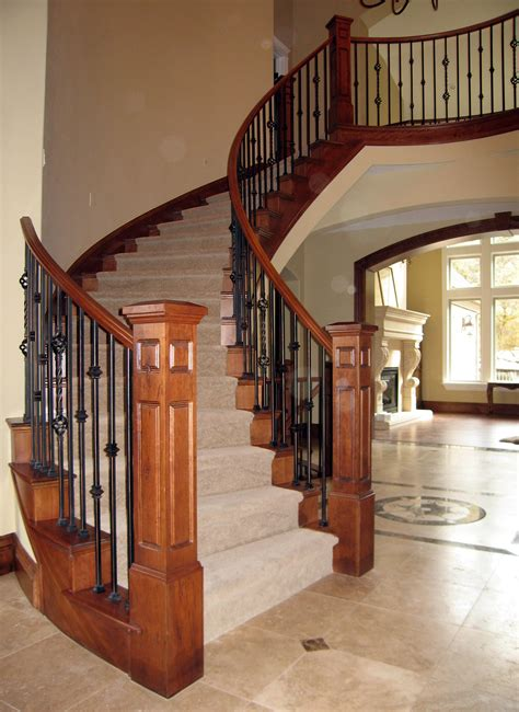 wood stair banisters iron and wood stair railing deck railing ideas at http