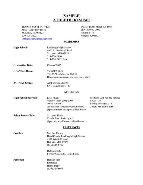 high school senior resume exles for college resume for high school senior resume exle
