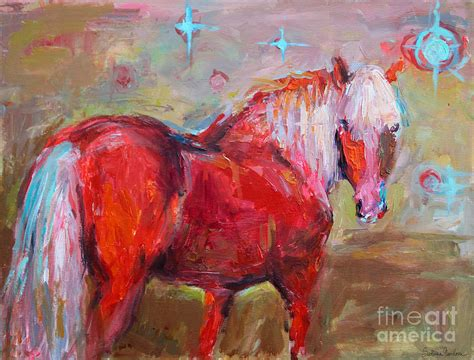 Home Decor Apps For Ipad by Red Horse Contemporary Painting Painting By Svetlana Novikova