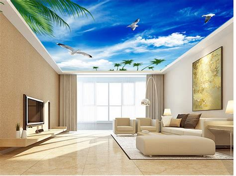 home design 3d wall height blue sky seagull ceiling 3d mural designs wallpapers for