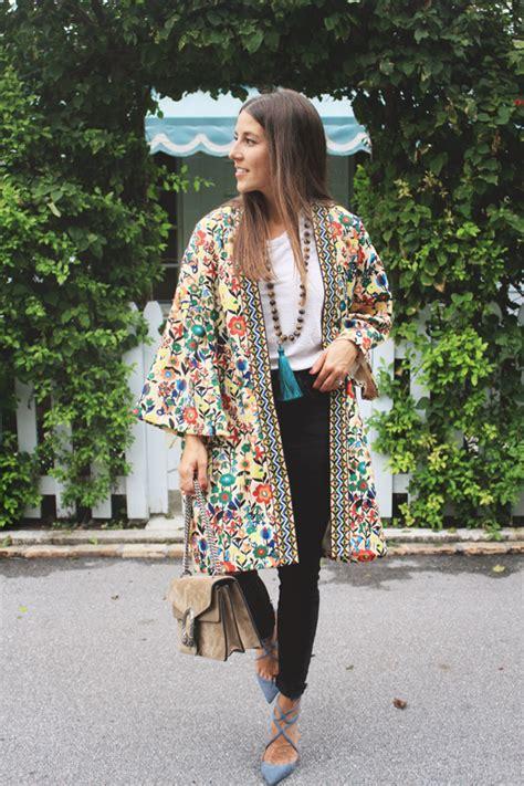 colorful kimono colorful kimono with embroidery blue pumps veryallegra