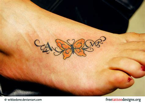 butterfly tattoo on foot foot tattoos