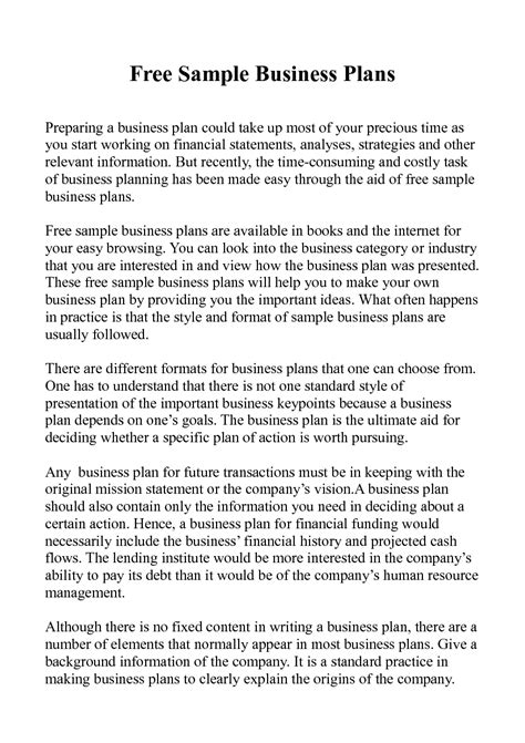 free retail business plan template business plan sle for restaurant pdf