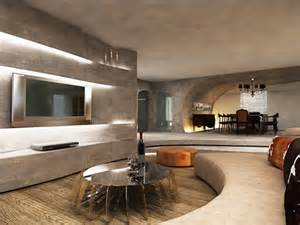 Curved walls concrete flawlessly unite modern antique