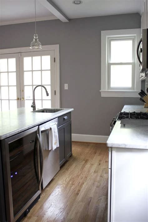 gray paint for kitchen walls behr porpoise i love the gray walls with the wood floors