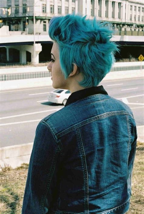 turcquoise short hair styles short turquoise hair hair pinterest cut and color