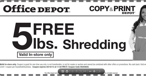 Office Depot Survey by Of All Deals Free Shredding 5lbs And Photocopy