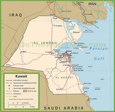 kuwait on a world map kuwait karte provinzen