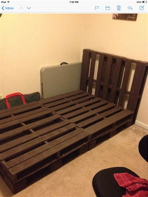 full size pallet bed pallet bed we created all attached and awaiting a full