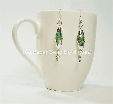 handmade paper bead earrings jewelry tropical