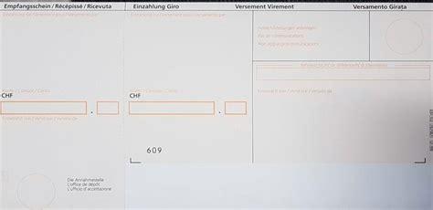 Rechnung Schweiz Verbuchen Einzahlungsschein Mit Referenznummer
