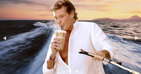 Hasselhoff Battles Boozing Reports by David Hasselhoff Goes Cheesy For Iced Coffee
